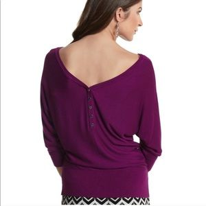 WHBM Amethyst Deep V Cropped Sleeve Sweater